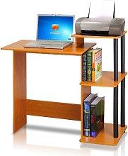 FURINNO Computer Desks, Wood, Light Cherry/Black,