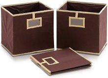 FURINNO Storage Bins, Wood, Brown, one size