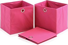 FURINNO Storage Bins, Wood, Pink, one size
