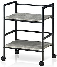 Furinno Storage Cart with Casters, Wood, Dark Oak