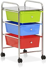 FURINNO Storage Carts, Metal, Green/Blue/Red, one