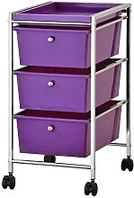 Furinno Storage Carts, Metal, Purple/Chrome, one