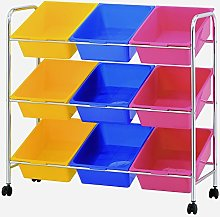 Furinno Storage Carts, Metal, Yellow/Blue/Pink,