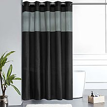 Furlinic Black Shower Curtain with Grey Clear