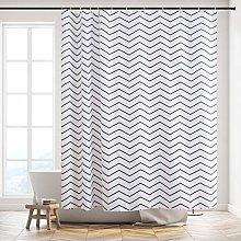 Furlinic Extra Long Zig Zag White Shower Curtain