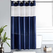Furlinic Navy Shower Curtain with White Clear