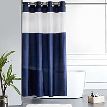 Furlinic Shower Curtain Navy Fabric Curtains with