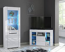 Furneo High Gloss & Matt White Living Room Set