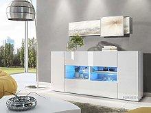 Furneo White Sideboard Cabinet Cupboard 160cm Unit