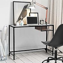 FURNISH 1 Glass Computer Desk with Wooden Drawer