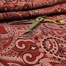 Furnishing Fabric New Paisley Pattern Red Chenille