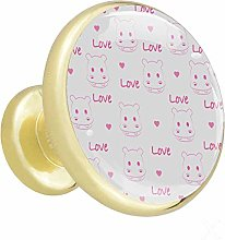 Furniture Gold Knobs Caring Cute Hippo Kitchen