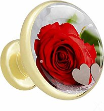 Furniture Gold Knobs Rose Red Flowers Kitchen