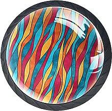 Furniture Knobs Color Wave Set of 4 Crystal Glass