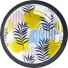 Furniture Knobs Leaf Striped Background Set of 4