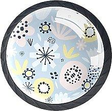 Furniture Knobs Light Blue Flower Set of 4 Crystal
