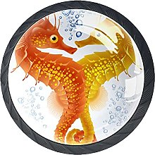 Furniture Knobs Orange Seahorse Set of 4 Crystal