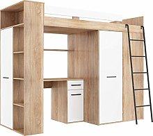 FurnitureByJDM High Sleeper Bed with Desk,