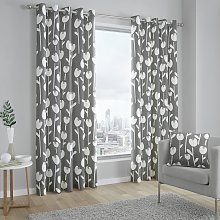 Fusion Alabar Fully Lined Eyelet Curtains - Grey