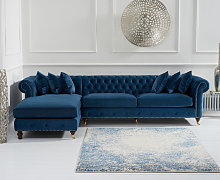 Fusion Blue Velvet Left Facing Chesterfield Chaise
