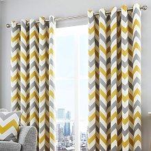 Fusion Chevron Lined Eyelet Curtains - Ochre