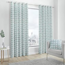 Fusion Delft Fully Lined Eyelet Curtains - Duck Egg