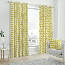 Fusion Delft Fully Lined Eyelet Curtains - Ochre