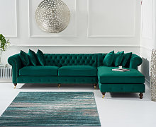 Fusion Green Velvet Right Facing Chesterfield