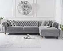 Fusion Grey Linen Right Facing Chesterfield Chaise