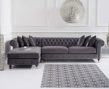 Fusion Grey Velvet Left Facing Chesterfield Chaise