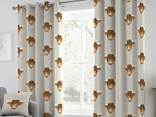 Fusion Highland Cow Grey Eyelet Curtain Pairs and