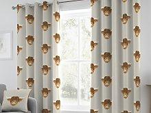 Fusion Highland Cow Natural Eyelet Curtain Pairs