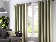 Fusion Sorbonne Green Eyelet Curtains and Cushions