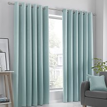 Fusion Strata Dim Out Woven Eyelet Curtains - Duck