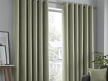 Fusion Strata Green Lined Eyelet Curtains and