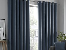 Fusion Strata Navy Lined Eyelet Curtains and