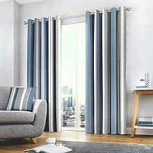 Fusion Whitworth Fully Lined Eyelet Curtains - Blue