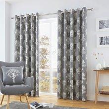 Fusion Woodland Trees Lined Eyelet Curtains -