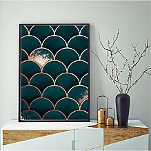 FUXUERUI Abstract Geometric Moroccan Teal Scales