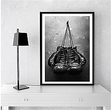 FUXUERUI Boxing Gloves Black and White Canvas Wall