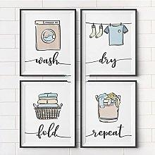 FUXUERUI Colorful Wash Dry Fold Repeat Laundry