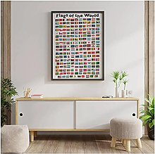 FUXUERUI Flags of World Countries Canvas Wall Art