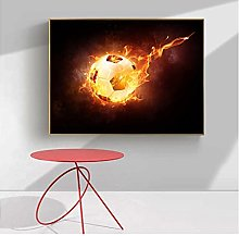 FUXUERUI Flame Football Canvas Wall Art Print