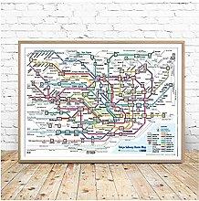FUXUERUI Funny Tokyo Subway Map Travel City Map