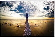 FUXUERUI Horizon Sea Man Landcape Wall Art Picture