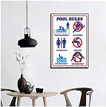 FUXUERUI Pool Rules Vintage Style Canvas Wall Art