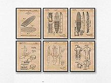 FUXUERUI Vintage Style Surfboard Patent Canvas