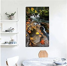 FUXUERUI Waterfall Leaves Landscape Canvas Wall