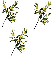 FXforer Artificial Lemon Branch, 3Pcs Simulation