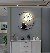FXQIN Modern Wall Clock With Lighting And Wall